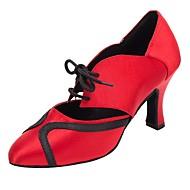 baratos Sapatilhas de Dança-Sapatos de Dança Moderna Cetim Sandália / Salto Salto Personalizado Personalizável Sapatos de Dança Vermelho Escuro / Profissional