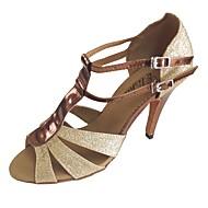 baratos Sapatilhas de Dança-Mulheres Sapatos de Dança Latina Gliter Salto Salto Personalizado Personalizável Sapatos de Dança Bronze / Vermelho / Azul