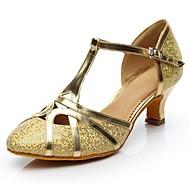 baratos Sapatilhas de Dança-Mulheres Sapatos de Dança Moderna Glitter Salto Salto Personalizado Personalizável Sapatos de Dança Dourado / Prata / Interior