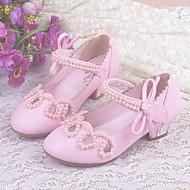 billige Sko til blomsterpiger-Pige Sko PU Forår sommer Tiny Heels for teenagere / Sko til blomsterpiger / Komfort Hæle for Afslappet Guld / Hvid / Lys pink