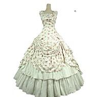 Viktoriánus Rococo Kostim Žene Odrasli Haljine Izgledi Obala Vintage Cosplay Čisti pamuk Bez rukávů Hladno rame Do gležnja