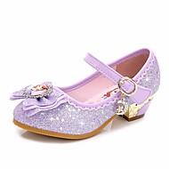 tanie Obuwie dziewczęce-Dla dziewczynek Buty Brokat Wiosna Jesień Tiny Obcasy dla młodzieży Buty dla małych druhen Comfort Szpilki na Casual Purple Różowy