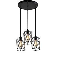 billige Takbelysning og vifter-3-hode vintage svart metall bur skygge anheng lys stue spisestue lysarmatur malt overflate