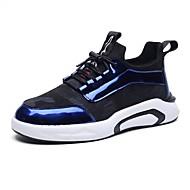 お買い得  メンズスニーカー-靴 PUレザー 繊維 エナメル 春 秋 ライト付きソール コンフォートシューズ スニーカー のために カジュアル ブラック グレー ライトブルー
