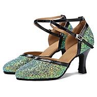 billige Kustomiserte dansesko-Moderne sko Paljett / Fuskelær Sandaler / Høye hæler Sløyfer Kustomisert hæl Kan spesialtilpasses Dansesko Grønn / Svart