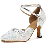 billige Moderne sko-Moderne sko Paljett / Fuskelær Sandaler / Høye hæler Sløyfer Kustomisert hæl Kan spesialtilpasses Dansesko Sølv