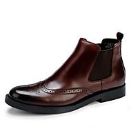 baratos Sapatos Masculinos-Homens Fashion Boots Pele Outono / Inverno Botas Botas Cano Médio Preto / Vinho