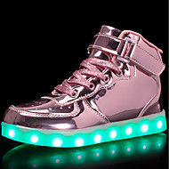 tanie Obuwie dziewczęce-Dla dziewczynek Obuwie Skóra patentowa / Materiał do wyboru Wiosna / Zima Wygoda / Świecące buty Adidasy Spacery Sznurowane / Haczyk i pętelka / LED na Srebrny / Niebieski / Różowy