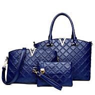 Mulheres Bolsas Couro Ecológico Poliéster Conjuntos de saco 3 Pcs Purse Set Ziper para Casual Todas as Estações Azul Preto Vermelho Rosa