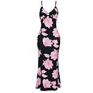 Women's Floral Plus Size Holiday Going out Maxi Bodycon Sheath Dress - Floral Backless High Waist Strap Summer Green Red Pink XXXL XXXXL XXXXXL / Slim
