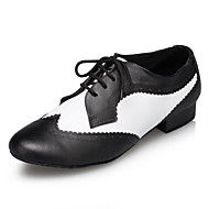 billige Moderne sko-Latin Lær Joggesko Trimmer Lav hæl Svart/Hvit Kan spesialtilpasses