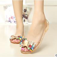 Mulheres Sapatos PVC Verão Conforto Sandálias Sem Salto Dedo Aberto Peep Toe para Ao ar livre Preto Amarelo