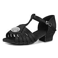 baratos Sapatilhas de Dança-Sapatos de Dança Latina Cetim / Gliter Sandália / Salto Pedrarias / Presilha Salto Robusto Personalizável Sapatos de Dança Preto