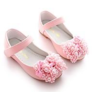 baratos Sapatos de Menina-Para Meninas Sapatos Courino Primavera Bailarina / Sapatos para Daminhas de Honra Rasos Laço / Pérolas Sintéticas / Velcro para Branco /
