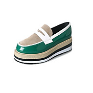 cheap Women's Slip-Ons & Loafers-Women's Shoes PU Spring Fall Comfort Loafers & Slip-Ons Creepers for Outdoor Black Brown Green