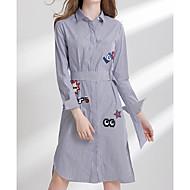 Žene Veći konfekcijski brojevi Izlasci Pamuk Majica Haljina - Print Kragna košulje Midi
