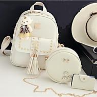 お買い得  バッグセット-女性用 バッグ ポリエステル / PU バッグセット 3個の財布セット ビーズ / タッセル / ジッパー のために カジュアル ブラック / ピンク / グレー