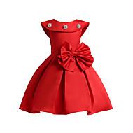 فستان بدون كم لون سادة / وردة / ومنمق مطرز مناسب للخارج رياضي Active للفتيات أطفال / قطن / جميل / أميرة