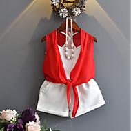 Djevojčice Pamuk Jednobojni Ljeto Bez rukávů Komplet odjeće Red