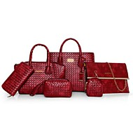 Feminino Bolsas Couro Ecológico Poliéster Conjuntos de saco 6 Pcs Purse Set Ziper para Casual Todas as Estações Azul Preto Vermelho Bege