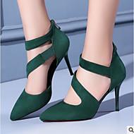 Žene Cipele Mekana koža / PU Proljeće Udobne cipele Cipele na petu Stiletto potpetica Krakova Toe / Zatvorena Toe Čizme do pola lista Crn
