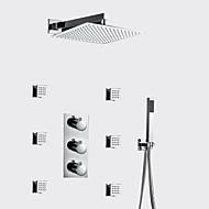 billige Rabatt Kraner-Moderne Vægmonteret Termostatisk Messing Ventil Tre Huller Tre Håndtak tre hull Krom , Dusjkran
