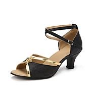 baratos Sapatilhas de Dança-Mulheres Sapatos de Dança Latina Glitter / Tule / Outras Peles de Animais Sandália / Salto Lantejoula Salto Personalizado Personalizável