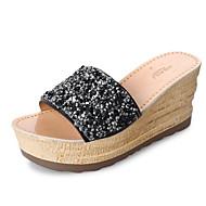 cheap Women's Slippers & Flip-Flops-Women's Shoes PU Spring Fall Comfort Slippers & Flip-Flops Wedge Heel for Black Silver