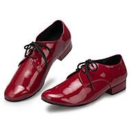 baratos Sapatilhas de Dança-Homens Sapatos de Dança Latina Couro Têni Adorno Salto Baixo Personalizável Sapatos de Dança Vermelho