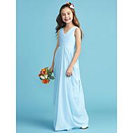 A-Linie / Princess Do V Na zem Šifón Šaty pro malou družičku s Šerpa / Stuha / Křížení / Sklady podle LAN TING BRIDE®