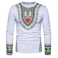 Χαμηλού Κόστους -Ανδρικά T-shirt Κλαμπ Κομψό στυλ street - Βαμβάκι Στρογγυλή Λαιμόκοψη Στάμπα