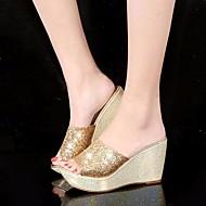 お買い得  -レディース 靴 スパンコール PUレザー 春 夏 コンフォートシューズ サンダル ウエッジヒール のために カジュアル ゴールド ブラック シルバー