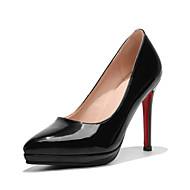 Mulheres Sapatos Couro Envernizado Primavera Verão Conforto Plataforma Básica Saltos Salto Agulha Dedo Apontado para Social Festas & Noite