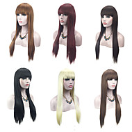 Synthetic Wig Straight Blonde With Bangs Synthetic Hair Natural Hairline Red / Black / Blonde Wig Women's Capless