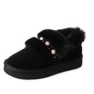Feminino Sapatos Couro Ecológico Inverno Conforto Forro de peles Mocassins e Slip-Ons Ponta Redonda Para Casual Preto Cinzento Marron