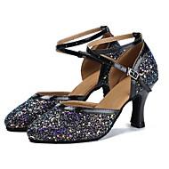 billige Kustomiserte dansesko-Moderne sko Paljett / Fuskelær Sandaler / Høye hæler Sløyfer Kustomisert hæl Kan spesialtilpasses Dansesko Svart