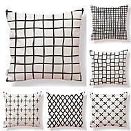 tanie Zestawy poduszki-6 szt Tekstylny Cotton / Linen Pokrywa Pillow, Prążki Geometryczny Wielokolorowa