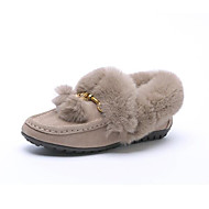 זול מוקסינים לנשים-נשים נעליים פרווה חורף סתיו נוחות נעליים ללא שרוכים שטוח ל קזו'אל שחור שקד