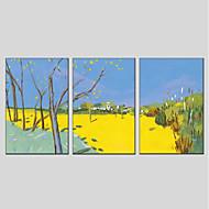 tanie -Ręcznie malowane Krajobraz Pionowo Panoramiczny, Nowoczesny Hang-Malowane obraz olejny Dekoracja domowa Trzy panele