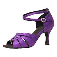 baratos Sapatilhas de Dança-Mulheres Sapatos de Dança Latina Glitter Sandália / Salto Salto Personalizado Personalizável Sapatos de Dança Roxo / Profissional