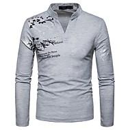 Homens Camiseta Geométrica Decote V Preto L / Manga Longa / Primavera / Outono