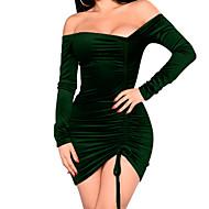 女性用 ボディコン シース ドレス - プリーツ, 純色 ミニ アシメントリー Vネック