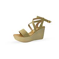 baratos Sapatos Femininos-Mulheres Sapatos Camurça Verão Conforto Sandálias Salto Plataforma Peep Toe Preto / Café / Vermelho