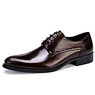 baratos Sapatos Masculinos-Homens Sapatos formais Pele Primavera / Outono Negócio Oxfords Preto / Vinho / Festas & Noite / Sapatos de vestir