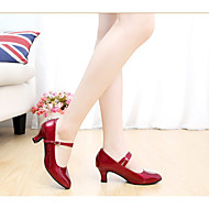 """billige Moderne sko-Dame Moderne Ballett PU Lær Lakklær Høye hæler Spenne Kubansk hæl Burgunder Svart Rød Sølv Gull 2 """"- 2 3/4"""" Kan ikke spesialtilpasses"""