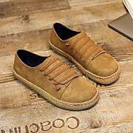 baratos Sapatos Femininos-Mulheres Sapatos Borracha Primavera / Outono Conforto Tênis Sem Salto Ponta Redonda Vermelho / Verde / Castanho Escuro