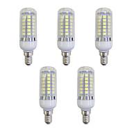 billige Kornpærer med LED-5pcs 5W 420 lm E12/E14 LED-kornpærer 48 leds SMD 5050 LED Lys Hvit AC 220-240V
