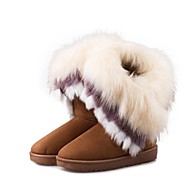 cheap -Women's Fur / Fleece Winter Fashion Boots Boots Flat Heel Mid-Calf Boots Black / Brown / Green