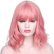 Perruque Synthétique Ondulation Kardashian Style Avec Frange Sans bonnet Perruque Rose Rose Cheveux Synthétiques Femme Ligne de Cheveux Naturelle / Avec Bangs Rose Perruque Court