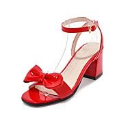 baratos Sandálias Femininas-Mulheres Sapatos Courino Verão Tira no Tornozelo Sandálias Salto Robusto Dedo Aberto Laço para Casual Festas & Noite Preto Bege Vermelho
